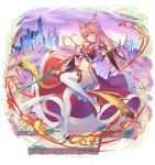 1girl animal_ears bare_shoulders boots castle cat_ears cat_tail commentary_request detached_sleeves fantasy fire hair_between_eyes holding holding_sword holding_weapon long_hair looking_at_viewer orange_eyes original outdoors pink_hair solo sword tail thigh-highs thigh_boots very_long_hair vivo101 weapon white_footwear