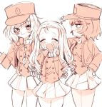 3girls andou_(girls_und_panzer) bangs bc_freedom_(emblem) bc_freedom_military_uniform black_hair blonde_hair blush closed_eyes crumbs dark_skin drill_hair emblem eyebrows_visible_through_hair food girls_und_panzer hand_on_headwear hand_on_own_cheek hand_up hat herox116 high_collar jacket long_sleeves marie_(girls_und_panzer) medium_hair messy_hair monochrome multiple_girls open_mouth oshida_(girls_und_panzer) pleated_skirt shako_cap simple_background skirt smile standing thighs tongue vest white_background