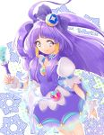 1girl absurdres choker closed_mouth cure_selene dress grey_eyes hair_tubes highres holding holding_pen long_hair nail_polish pen pink_nails precure purple_dress purple_hair short_dress short_sleeves smile solo standing star_twinkle_precure very_long_hair white_background yuutarou_(fukiiincho)