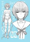 1girl ayanami_rei bandage_over_one_eye bandages bangs bare_shoulders blush breasts closed_mouth collarbone full_body hair_between_eyes legs looking_at_viewer monochrome mushi024 navel neck_ribbon neon_genesis_evangelion ribbon sailor_collar short_hair simple_background small_breasts smile solo thighs