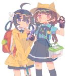 2girls :o ahoge animal_ears backpack bag bandaid bandaid_on_face bangs bird black_gloves black_hair black_neckwear black_ribbon black_skirt blue_shirt blunt_bangs brown_hair carrot cat_ears chin_stroking claw_pose closed_mouth cowboy_shot daizu_(melon-lemon) duck expressionless fang fingerless_gloves gloves gradient_eyes hair_between_eyes hair_bobbles hair_ornament hair_rings hand_up hat highres holding jitome long_hair long_sleeves looking_at_viewer low_twintails multicolored multicolored_eyes multiple_girls no_nose open_mouth original pocket raincoat randoseru ribbon shirt short_sleeves simple_background skin_fang skirt suspender_skirt suspenders twintails umbrella white_background wing_collar yellow_headwear