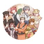 6+boys absurdres ahoge animal_ears black_coat black_neckwear brown_eyes brown_hair camera character_request closed_eyes code:realize copyright_request cravat crossed_arms diabolik_lovers formal gloves goggles goggles_on_head green_eyes grey_eyes grey_hair hair_between_eyes hat hedgehog highres hirakawa_daisuke japanese_clothes jojo_no_kimyou_na_bouken kakyouin_noriaki licking_lips long_hair long_sleeves looking_at_viewer mio_rin multiple_boys necktie pink_hair ponytail saint_germain_(code:realize) sakami_raito seiyuu_connection silver_hair simple_background stardust_crusaders straw_hat tongs tongue tongue_out vest white_vest