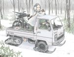 1girl 2boys assault_rifle battle_rifle brown_hair camouflage car caterpillar_tracks driving earmuffs gloves goggles goggles_around_neck ground_vehicle gun half-track helmet honda howa_type_64 jettoburikku long_sleeves machine_gun military military_uniform military_vehicle motor_vehicle motorcycle multiple_boys original outdoors rifle short_hair skis snow soldier standing steering_wheel truck uniform weapon