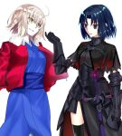 2girls ahoge armor black_eyes black_hair black_legwear blonde_hair capelet cosplay costume_switch fate/grand_order fate_(series) fur-trimmed_jacket fur_trim hair_between_eyes hand_in_pocket inoue_mamori jacket japanese_clothes jeanne_d'arc_(alter)_(fate) jeanne_d'arc_(alter)_(fate)_(cosplay) jeanne_d'arc_(fate)_(all) kara_no_kyoukai kimono multiple_girls obi ryougi_shiki ryougi_shiki_(cosplay) sakamoto_maaya sash seiyuu_connection short_hair sword thigh-highs thighs torn_capelet weapon white_background yellow_eyes