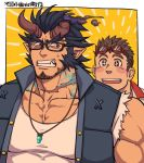 2boys bara beard black_hair chest facial_hair fang gesusuzume glasses horns jewelry male_focus multiple_boys muscle necklace pectorals simple_background sweatdrop takemaru_(tokyo_houkago_summoners) tank_top teeth tokyo_houkago_summoners