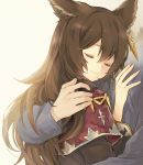 1boy 1girl animal_ears black_hair blue_sweater chococaramelize closed_eyes commentary_request ear_piercing erune gran_(granblue_fantasy) granblue_fantasy hug long_hair nier_(granblue_fantasy) piercing robe smile solo_focus sweater