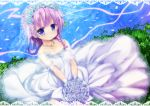 1girl bare_shoulders blue_flower blue_rose bouquet braid bride closed_mouth collarbone dress flower flower_knight_girl full_body hair_flower hair_ornament holding holding_bouquet izumi_yukiru jewelry kneeling looking_at_viewer necklace purple_hair rose short_hair smile solo strapless strapless_dress teppouyuri_(flower_knight_girl) veil violet_eyes wedding_dress white_dress white_flower white_rose