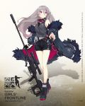 1girl bangs black_footwear black_gloves black_shorts boots breasts character_name coat cross-laced_footwear earphones feather-trimmed_coat floating_hair full_body girls_frontline gloves goggles goggles_around_neck grey_coat grey_hair grey_tank_top gun highres holding holding_gun holding_weapon lace-up_boots logo long_hair looking_away medium_breasts multicolored_hair multiple_straps off_shoulder official_art open_clothes open_coat purple_hair rifle scope shorts sidelocks single_glove sniper_rifle sola7764 solo streaked_hair t-cms_(girls_frontline) tank_top tinted_eyewear truvelo_cms very_long_hair violet_eyes weapon wristband