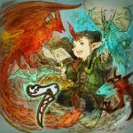 1other androgynous artist_name baggy_pants bahamut_(final_fantasy) bird black_hair book coat copyright copyright_name countdown dragon final_fantasy final_fantasy_xiv green_eyes hair_bun highres holding holding_book horn lalafell long_sleeves looking_at_another number official_art open_mouth outstretched_arms pants phoenix phoenix_(final_fantasy) pointy_ears shoes sidelocks smile spread_arms summoner_(final_fantasy) upper_teeth