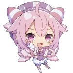1girl :3 :d ahoge bangs big_head blush capelet chibi crescent eyebrows_visible_through_hair facial_mark full_body hair_between_eyes hand_up hat highres nijisanji no_shoes open_mouth outstretched_arm pink_capelet pink_hair pink_legwear purple_headwear purple_neckwear sapphire_(sapphire25252) short_jumpsuit simple_background smile solo star thigh-highs ushimi_ichigo violet_eyes virtual_youtuber white_background