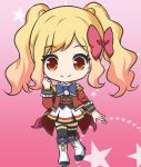 1girl aikatsu! aikatsu!_(series) bangs black_legwear blonde_hair blue_bow boots bow brown_vest closed_mouth epaulettes eyebrows_visible_through_hair full_body hair_bow hand_up heart heart_background jacket knee_boots long_sleeves nekono_rin nijino_yume open_clothes open_jacket pleated_skirt red_bow red_eyes red_jacket shirt skirt smile solo standing standing_on_one_leg star starry_background thigh-highs thighhighs_under_boots twintails vest white_footwear white_shirt white_skirt