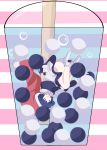 1girl ass bare_legs black_capelet blue_hair bubble bubble_tea capelet closed_eyes commentary convenient_leg cup disposable_cup doremy_sweet dress drinking_straw hat highres nightcap no_shoes pink_background pom_pom_(clothes) red_headwear short_hair socks solo striped striped_background tail tapir_tail thighs touhou upside-down white_background white_dress white_legwear yukome