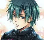 1boy armor artist_request blue_eyes blue_hair byleth byleth_(male) cape fire_emblem fire_emblem:_fuukasetsugetsu looking_at_viewer male_focus short_hair simple_background solo upper_body white_background
