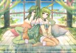 2girls animal_ears back-to-back between_legs blue_sky blurry blurry_foreground blush bobo_(6630978) chinese_commentary commentary depth_of_field dual_persona fur-trimmed_legwear fur-trimmed_skirt fur-trimmed_sleeves fur_trim green_hair green_jacket green_legwear gumi hand_between_legs jacket looking_at_breasts multiple_girls orange_legwear orange_shirt orange_skirt pillow plant rabbit_ears shirt short_hair short_hair_with_long_locks sidelocks sitting skirt sky smile vocaloid wariza wide_shot window