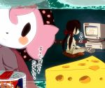 bow charlotte_(madoka_magica) cheese computer food h.n.elly_(kirsten) keyboard_(computer) mahou_shoujo_madoka_magica meat nicoseiga438470 pillow pink_hair red_bow refrigerator short_twintails swiss_cheese tin_can translation_request twintails witch_(madoka_magica)