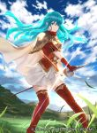 1girl aqua_hair armor bangs blue_eyes blue_sky boots breastplate cape closed_mouth clouds cloudy_sky commentary_request company_connection copyright_name day eirika fire_emblem fire_emblem:_seima_no_kouseki fire_emblem:_the_sacred_stones fire_emblem_cipher gloves grass holding intelligent_systems long_hair looking_at_viewer mayo_(becky2006) nintendo official_art outdoors pleated_skirt red_footwear red_gloves shiny shiny_hair short_sleeves shoulder_armor skirt sky solo standing sword thigh-highs thigh_boots weapon white_skirt zettai_ryouiki