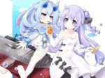 2girls ahoge azur_lane bangs bendy_straw black_bow black_ribbon blue_eyes blue_hair blue_horns blue_sailor_collar blunt_bangs bow collarbone commentary_request cowboy_shot cup detached_sleeves disposable_cup drinking drinking_straw eyebrows_visible_through_hair gudon_(iukhzl) hair_bun hair_flaps hair_ribbon i-13_(azur_lane) long_hair long_sleeves looking_at_another multicolored_hair multiple_girls off_shoulder oni_horns pantyhose purple_hair ribbon ribbon-trimmed_legwear ribbon_trim sailor_collar see-through short_eyebrows side_cutout sidelocks single_thighhigh streaked_hair stuffed_alicorn submarine swimsuit thigh-highs unicorn_(azur_lane) violet_eyes water_drop watercraft white_legwear white_swimsuit