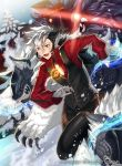 1boy animal_ears black_hair fangs fire_emblem fire_emblem_cipher fire_emblem_if flannel_(fire_emblem_if) gem gloves glowing glowing_eyes horn jewelry kyo_niku long_hair male_focus monster multicolored_hair necklace official_art open_mouth orange_eyes scar snow solo tail teeth tree two-tone_hair white_hair