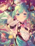 1girl aqua_eyes aqua_hair armpits bare_shoulders blurry blurry_background bow bowtie breasts collar commentary confetti depth_of_field diamond_(shape) dress facial_tattoo frilled_collar frills gloves hair_ornament hat hatsune_miku highres ikari_(aor3507) long_hair looking_at_viewer magical_mirai_(vocaloid) microphone mini_hat mini_top_hat outstretched_hand reaching_out small_breasts smile solo strapless strapless_dress tattoo top_hat twintails twitter_username upper_body very_long_hair vocaloid white_gloves white_headwear