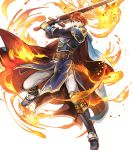1boy arm_guards armor armored_boots bangs belt black_gloves blue_eyes boots cape eliwood_(fire_emblem) fire fire_emblem fire_emblem:_the_blazing_blade fire_emblem_heroes full_body gloves highres holding holding_sword holding_weapon jewelry long_sleeves looking_at_viewer male_focus official_art open_mouth pants redhead shiny shiny_hair short_hair shoulder_armor solo sword tiara transparent_background wada_sachiko weapon white_pants