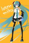 1girl absurdres arm_at_side black_legwear black_skirt blue_eyes blue_hair blue_neckwear character_name detached_sleeves eyebrows_visible_through_hair eyelashes full_body hand_on_hip happy hatsune_miku highres kinosuke_(pattaba) long_hair looking_at_viewer multicolored multicolored_eyes necktie orange_background pleated_skirt shirt simple_background skirt sleeveless sleeveless_shirt smile solo standing thigh-highs twintails very_long_hair violet_eyes vocaloid white_shirt zettai_ryouiki