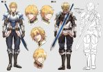 1boy armor armored_boots belt belt_pouch blonde_hair blue_eyes boots breastplate character_sheet commentary ex_albio expressions from_behind full_body gauntlets gloves grey_background kei-suwabe knight male_focus multiple_views nijisanji pants pouch shoulder_armor simple_background sketch smile standing sword two-handed_sword vambraces weapon