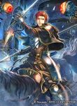 1boy armor cape fire_emblem fire_emblem:_seima_no_kouseki fire_emblem_cipher gloves horse horseback_riding male_focus monster official_art polearm red_eyes redhead riding seth_(fire_emblem) solo sparkle spear sword teeth weapon