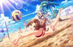 beach bikini blush brown_eyes brown_hair idolmaster_cinderella_girls_starlight_stage kawashima_mizuki long_haie ponytail