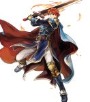 1boy arm_guards armor armored_boots bangs belt black_gloves blue_eyes boots cape closed_mouth eliwood_(fire_emblem) fire_emblem fire_emblem:_the_blazing_blade fire_emblem_heroes full_body gloves highres holding holding_sword holding_weapon jewelry long_sleeves looking_at_viewer male_focus official_art pants redhead shiny shiny_hair short_hair shoulder_armor solo sword tiara transparent_background wada_sachiko weapon white_pants