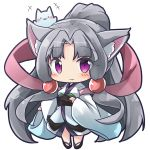 +++ 1girl :3 animal animal_ear_fluff animal_ears bangs black_footwear blush cat chibi closed_mouth commentary_request eyebrows_visible_through_hair fox_ears full_body grey_hair hagoromo hair_ornament high_ponytail highres japanese_clothes kimono long_hair long_sleeves looking_at_viewer obi parted_bangs ponytail ryogo sash shawl sidelocks simple_background solo touhoku_itako very_long_hair violet_eyes voiceroid white_background white_kimono wide_sleeves zouri