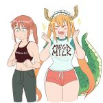 2girls breast_envy breasts clothes_writing dragon_girl dragon_horns dragon_tail fangs glasses highres horns kobayashi-san_chi_no_maidragon kobayashi_(maidragon) large_breasts maid_headdress mega_milk meme_attire midriff multiple_girls raglan_sleeves shirt simple_background sweatdrop t-shirt tail tomatomagica tooru_(maidragon) white_background