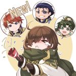 1girl 3boys ahoge bangs blue_eyes blue_hair brown_hair closed_eyes closed_mouth commentary_request confetti earrings eliwood_(fire_emblem) eyebrows_visible_through_hair fire_emblem fire_emblem:_the_blazing_blade fire_emblem_heroes gloves green_hair hair_ornament hector_(fire_emblem) highres holding jewelry long_hair long_sleeves lyn_(fire_emblem) mark_(fire_emblem:_the_blazing_blade) multiple_boys nakabayashi_zun open_mouth parted_lips party_popper ponytail redhead scarf shiny shiny_hair short_hair simple_background tears tiara