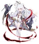 +_+ 1girl analog_clock arm_up azur_lane bangs blue_eyes bow breasts cape clock crossed_bangs double_bun dress expressionless eyebrows_visible_through_hair full_body hair_between_eyes hair_bow hand_up holding holding_sword holding_weapon kinven le_malin_(azur_lane) long_hair long_sleeves official_art pantyhose rapier rigging shoes sidelocks small_breasts solo sword transparent_background underboob_cutout very_long_hair wavy_hair weapon white_dress white_hair white_legwear