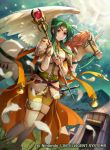 armor belt boots breastplate brown_eyes clouds cloudy_sky commentary_request company_connection copyright_name day elincia_ridell_crimea feathers fire_emblem fire_emblem:_radiant_dawn fire_emblem_cipher green_hair holding horn jewelry konfuzikokon mountain official_art outdoors pants pegasus pegasus_knight shoulder_armor sky staff sunlight sword thigh-highs thigh_boots tiara tied_hair weapon white_footwear wings yellow_pants