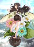 1girl arm_up ass backless_dress backless_outfit barefoot black_dress black_hair brown_eyes dress dung_beetle fairy feet flower from_behind full_body hair_flower hair_ornament highres insect_wings kneepits leg_up legs long_hair looking_back nyoro_(nyoronyoro000) open_mouth original personification plant short_dress smile soles solo toes wings