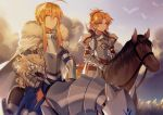 2girls absurdres ahoge armor armored_animal armored_dress artoria_pendragon_(all) bangs blonde_hair blue_dress blue_sky blurry blurry_foreground braid cape closed_mouth clouds cloudy_sky commentary_request depth_of_field dress eyebrows_visible_through_hair fate/apocrypha fate/stay_night fate_(series) fur-trimmed_cape fur_trim gauntlets green_eyes hair_between_eyes headwear_removed helm helmet helmet_removed high_ponytail highres horseback_riding long_hair mordred_(fate) mordred_(fate)_(all) mother_and_daughter multiple_girls outdoors parted_bangs ponytail red_dress riding saber sidelocks sky smile sunset v-shaped_eyebrows white_cape yorukun