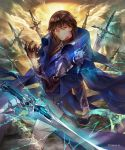 1boy aloma armor blue_cape blue_eyes brown_hair cape clouds day earrings gloves highres jewelry long_sleeves looking_back magic official_art outdoors pants shadowverse solo standing sword twisted_torso watermark weapon