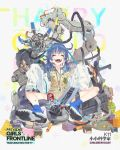 1girl :d ^_^ alternate_costume assault_rifle bandaid bandaid_on_knee bangs beige_vest black_shorts blue_footwear blue_hair blue_shirt blush boots breasts bulletproof_vest calculator character_name closed_eyes coat collared_shirt computer_tower daewoo_k11 damaged dirty dr_pepper electricity explosion explosive eyebrows_visible_through_hair facing_viewer fire full_body girls_frontline glasses grenade gun hair_between_eyes hair_ornament holding_magazine_(weapon) k11_(girls_frontline) keyboard labcoat ladic long_hair low_twintails messy_hair multimeter official_art open_clothes open_coat open_mouth rifle shirt shorts side_ponytail sidelocks sitting sleeves_past_fingers sleeves_past_wrists smile solo twintails violet_eyes watch watch weapon white_coat x_hair_ornament younger