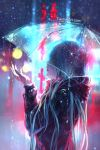 1girl blue_hair blurry blurry_background english_commentary highres jacket long_hair multicolored_hair night original rain see-through solo standing umbrella upper_body watermark web_address wenqing_yan wet