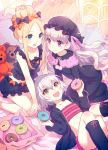 3girls :d abigail_williams_(fate/grand_order) bangs bare_arms bare_shoulders bed_sheet black_bow black_dress black_headwear black_jacket black_legwear black_shirt blonde_hair blue_eyes blush bow closed_mouth commentary_request diagonal_stripes doughnut dress eyebrows_visible_through_hair fate/extra fate/grand_order fate_(series) food frilled_pillow frills green_eyes hair_between_eyes hair_bow hat holding holding_food hood hood_down hooded_jacket jack_the_ripper_(fate/apocrypha) jacket kneehighs long_hair long_sleeves mob_cap multiple_girls nishimura_eri nursery_rhyme_(fate/extra) open_clothes open_jacket open_mouth orange_bow parted_bangs pillow polka_dot polka_dot_bow red_eyes shirt short_shorts shorts sidelocks silver_hair sleeveless sleeveless_shirt smile striped striped_shorts stuffed_animal stuffed_toy teddy_bear very_long_hair