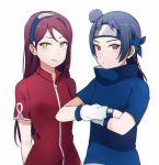 2girls ascii_media_works blue_hair bushiroad cosplay forehead_protector haruno_sakura haruno_sakura_(cosplay) highres long_hair love_live! love_live!_sunshine!! multiple_girls naruto_(series) redhead sakurauchi_riko sellel shounen_jump side_bun studio_pirerot sunrise_(studio) tokyo_mx tsushima_yoshiko tv_tokyo uchiha_sasuke uchiha_sasuke_(cosplay) upper_body