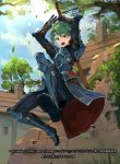 1boy alm_(fire_emblem) armor armored_boots boots fire_emblem fire_emblem_cipher fire_emblem_echoes:_mou_hitori_no_eiyuuou gloves green_eyes green_hair headband kureta_(nikogori) leaf male_focus official_art open_mouth sky solo sword teeth tree weapon