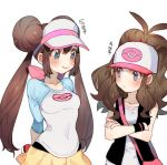 2girls arms_behind_back bag blue_eyes blush brown_hair chinese collarbone crossed_arms double_bun hair_bun hat holding holding_poke_ball looking_at_another mei_(pokemon) multiple_girls poke_ball poke_ball_(generic) pokemon pokemon_(game) pokemon_bw pokemon_bw2 pokemon_masters ponytail pout smile touko_(pokemon) translation_request twintails upper_body vest visor_cap wristband zuizi