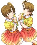 2girls bangs brown_eyes brown_hair closed_mouth dress_shirt eyebrows_visible_through_hair finger_to_mouth futami_ami futami_mami gradient_skirt highres idolmaster idolmaster_(classic) index_finger_raised kneehighs long_hair looking_at_viewer miniskirt multicolored multicolored_clothes multicolored_skirt multiple_girls neck_ribbon one_side_up orange_footwear orange_ribbon pleated_skirt red_skirt ribbon shiny shiny_hair shirt short_hair short_sleeves siblings side_ponytail simple_background sisters skirt smile standing tsurui white_background wrist_cuffs yellow_legwear yellow_shirt yellow_skirt