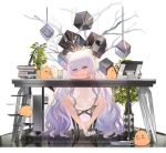 +_+ 1girl alternate_costume azur_lane bangs blue_eyes blush bow chair computer_tower cup double_bun dress drinking_straw eyebrows_visible_through_hair gradient_hair hair_between_eyes hair_bow head_on_arm high_heels kinven le_malin_(azur_lane) long_hair multicolored_hair official_art plant pointing pointing_at_viewer potted_plant pout purple_hair shoes sidelocks single_shoe sitting sweat table transparent_background very_long_hair white_dress white_footwear white_hair