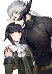 1boy 1girl akizone au_ra bangs black_hair black_sweater blush breasts closed_eyes commentary dress eyebrows_visible_through_hair final_fantasy final_fantasy_xiv heart highres horns long_sleeves looking_at_another scales short_hair simple_background small_breasts smile sweater white_background white_hair