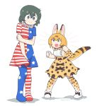 2girls american_flag american_flag_dress american_flag_legwear animal_ears artist_name bangs bare_shoulders blonde_hair blouse blue_eyes bow bowtie cat_ears clenched_hands clownpiece clownpiece_(cosplay) commentary commission cosplay covering covering_crotch dress elbow_gloves embarrassed english_commentary extra_ears eyebrows_visible_through_hair gloves hair_between_eyes high-waist_skirt highres kaban_(kemono_friends) kemono_friends multiple_girls open_mouth pantyhose serval_(kemono_friends) serval_ears serval_print serval_tail skirt smile sweat tail touhou twitter_username vibrantrida white_background yellow_eyes
