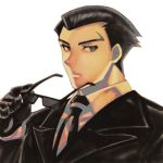 1boy black_gloves black_hair black_neckwear eyewear_removed formal gloves izumoyu_(splat) lowres male_focus necktie roger_smith simple_background suit sunglasses the_big_o upper_body white_background