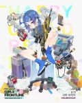 1girl alternate_costume assault_rifle bandaid bandaid_on_knee bangs black_shorts blue_footwear blue_hair blush boots breasts bulletproof_vest calculator chair character_name coat computer_tower daewoo_k11 dr_pepper drinking explosive eyebrows_visible_through_hair eyes_visible_through_hair full_body girls_frontline glasses grenade gun hair_between_eyes hair_ornament holding_magazine_(weapon) k11_(girls_frontline) labcoat ladic long_hair looking_at_viewer low_twintails messy_hair multimeter official_art open_clothes open_coat rifle shirt shorts side_ponytail sidelocks sitting sleeves_past_fingers sleeves_past_wrists solo twintails violet_eyes watch watch weapon white_coat x_hair_ornament younger
