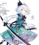 1girl :o artist_name bangs black_hairband black_ribbon bloomers blush cowboy_shot green_eyes green_skirt green_vest hairband holding holding_sword holding_weapon katana konpaku_youmu leg_ribbon long_sleeves looking_at_viewer nuudoru open_mouth petticoat ribbon scabbard sheath sheathed shirt short_hair silver_hair simple_background skirt skirt_set solo standing sword touhou twitter_username underwear vest weapon white_background white_bloomers white_shirt
